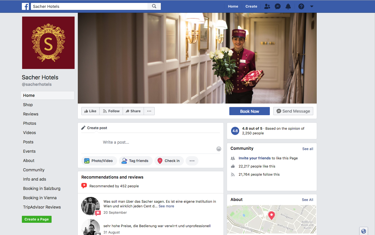 Sacher Hotels Facebook profile, on December 12, 2018